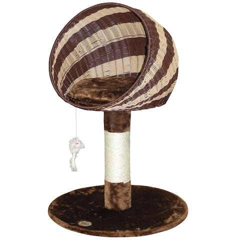 Go Pet Club 33-inch Brown and Natural Wicker Cat Tree