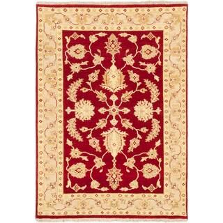 Ecarpetgallery Chubi Collection Red Wool Open Field Rectangular Rug (4'1 x 5'9)