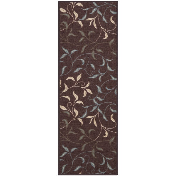 Modern Leaves Rug: Ottomanson Ottohome Collection Chocolate Contemporary