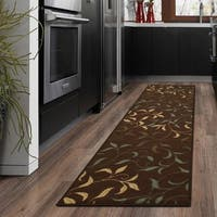 Ottomanson Ottohome Collection Chocolate Contemporary Leaves Design Modern Non-skid Runner Rug - 2'7 x 10'