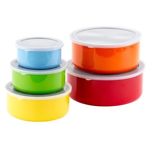 Colored Stainless Steel Mixing Bowls Food Storage Containers Set - Lid