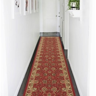 Ottomanson Ottohome Collection Dark Red Traditional Floral Non-skid Runner Rug (2'7 x 10')