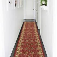 Ottomanson Ottohome Traditional Floral Design Modern Dark Red Runner Rug (2'7 x 10') - 2'7 x 10'