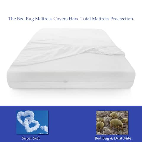 Spring Coil Bed Bug Protector for Mattress 8-10 inches High - White