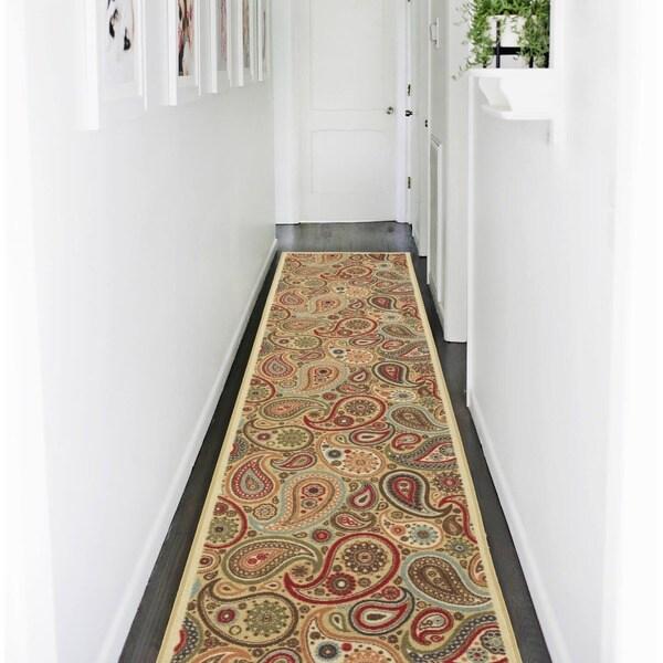 Ottomanson Ottohome Collection Contemporary Paisley Design Modern Beige Hallway Runner Rug (2'7 x 9'10)