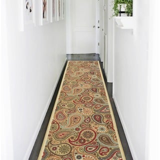 Ottomanson Ottohome Collection Beige Paisley Non-skid Runner Rug (2'7 x 10')