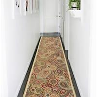 Ottomanson Ottohome Collection Contemporary Paisley Design Modern Beige Hallway Runner Rug - 2'7 x 10'