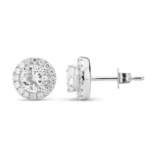 Charles & Colvard 14k White Gold 1.52 TGW Round Forever Brilliant Moissanite Halo Stud Earrings