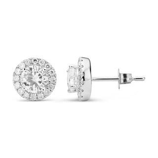 Charles & Colvard 14k White Gold 1.52 TGW Round Forever Brilliant Moissanite Halo Stud Earrings