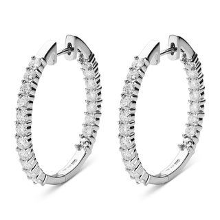 Charles & Colvard 14k White Gold 2.04 TGW Round Forever Brilliant Moissanite Hoop Earrings