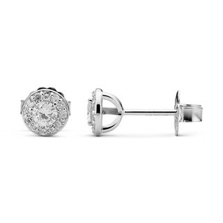 Charles & Colvard 14k White Gold 0.32 TGW Round Forever Brilliant Moissanite Button Earrings