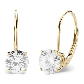 Charles & Colvard 14k Yellow Gold 2.00 TGW Round Forever Brilliant Moissanite Leverback Earrings