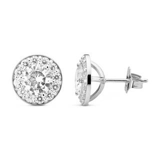Charles & Colvard 14k White Gold 2.72 TGW Round Forever Brilliant Moissanite Button Earrings