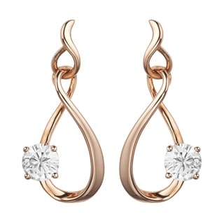 Charles & Colvard 14k Rose Gold 1.00 TGW Round Forever Brilliant Moissanite Drop Earrings