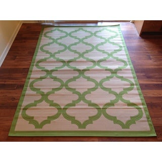 Beige Light Green Pool Patio Deck Area Rug Area Rug (6'6 X 9'3)
