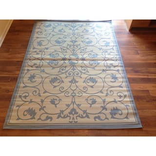 Beige Light Blue Pool Patio Deck Area Rug Area Rug (6'5 X 9'2)