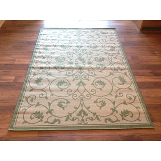 Beige Light Green Pool Patio Deck Area Rug Area Rug (6'6 X 9'2)
