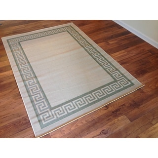 Beige Green Pool Patio Deck Area Rug Area Rug (6'6 X 9'2)
