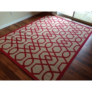 Geometric Beige Red Pool Patio Lanai Deck Area Rug Area Rug (7'10 X 10'4)