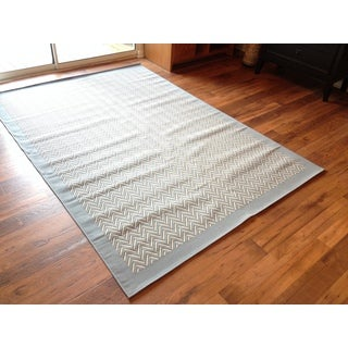 Beige Light Blue Pool Patio Deck Area Rug Area Rug (6'6 X 9'3)