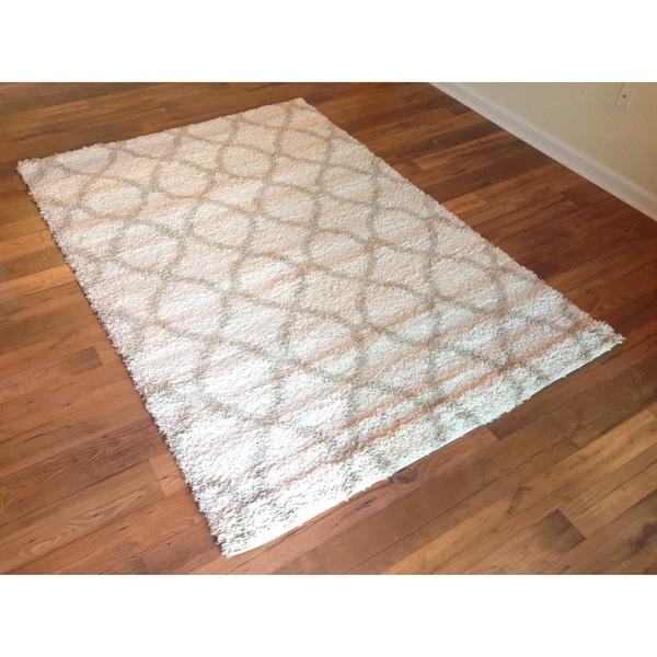 beige cream trellis shag rug area rug area rug 5u00273 x - Shaggy Rug