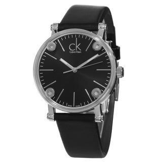 Calvin Klein Women's K3B231C1 'Congent' Black Dial Black Leather Strap Swiss Quartz Watch