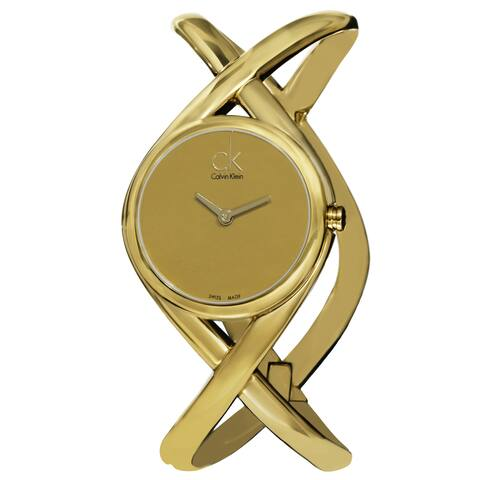 Calvin Klein Women's 'Enlace' Goldtone Dial Goldtone Stainless Steel Medium Bangle Watch