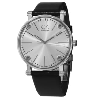 Calvin Klein Men's K3B2T1C6 'Congent' Silver Dial Black Leather Strap Watch