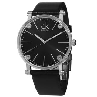 Calvin Klein Men's K3B2T1C1 'Congent' Black Dial Black Leather Strap Watch