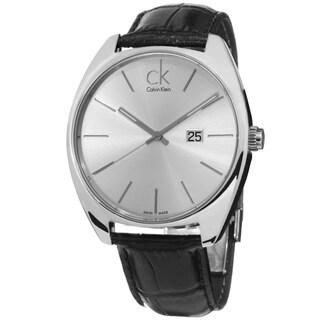 Calvin Klein Men's K2F21120 'Exchange' Silver Dial Black Leather Strap Swiss Quartz Watch