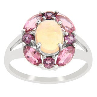 Sterling Silver Opal Pink Tourmaline and Rhodolite Garnet Ring