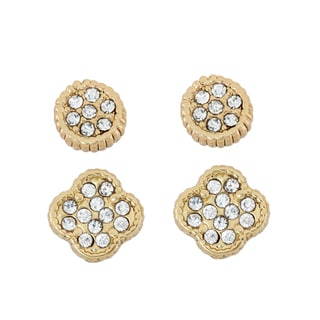 Isla Simone 14KT Gold Plated Clover and Dial Crystal Studded Earring Set