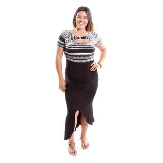 Hadari Women's Contemporary Plus Size High-Low Tribal Dress