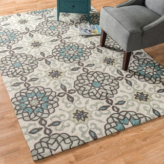 Hand-hooked Charlotte Ivory/ Metal Rug (7'6 x 9'6)
