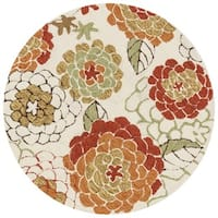 Hand-hooked Charlotte Ivory/ Spice Round Rug - 3' x 3'