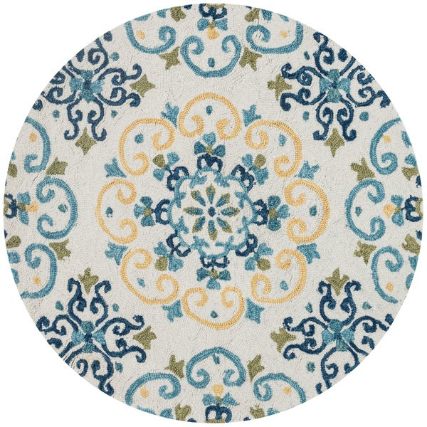 Alexander Home Charlotte Hand-hooked Floral Area Rug - 3' x 3' Round