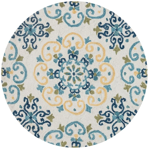 Hand-hooked Ivory/ Light Blue Scroll Round Area Rug - 3' x 3' Round