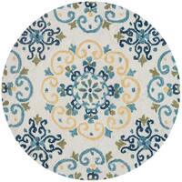 Hand-hooked Ivory/ Light Blue Scroll Round Area Rug - 3' x 3'