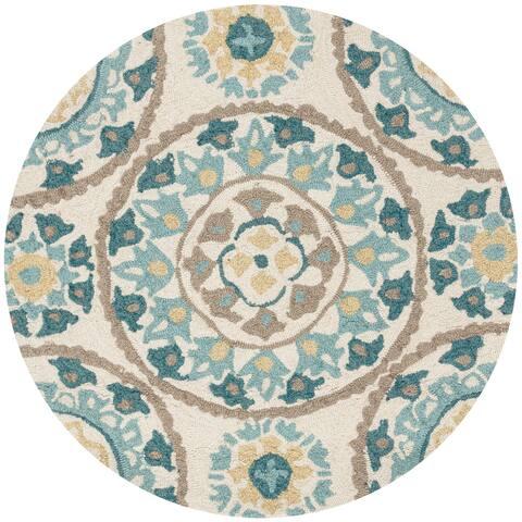 Alexander Home Valentina Hand-hooked Geometric Floral Area Rug