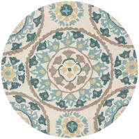 Hand-hooked Charlotte Ivory/ Beige Round Rug - 3' x 3'