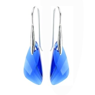 Queenberry Sterling Silver Austrian Crystal Elements Capri Blue Crystal Wing Dangle Earrings