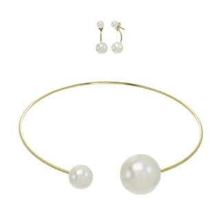 Alexa Starr Goldtone Faux Pearl Front-back Stud Drop Earrings and Necklace Jewelry Set