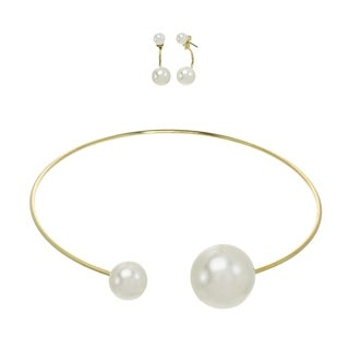 Alexa Starr Goldtone Faux Pearl Front-back Stud Drop Earrings and Necklace Jewelry Set (2 options available)