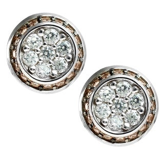 Valitutti Signity Sterling Silver with White and Brown Cubic Zirconia Earrings