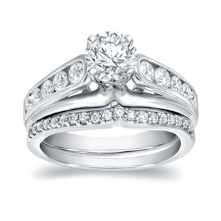Auriya 14k White Gold 1 1/4ct TDW Certified Round Diamond Bridal Ring Set