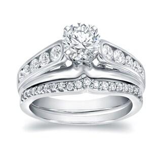 Auriya 14k White Gold 1 1/4ct TDW Certified Round Diamond Bridal Ring Set