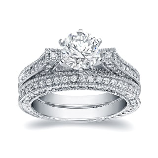 Auriya 14k White Gold 2ct TDW Certified Round Cut Diamond Bridal Ring Set