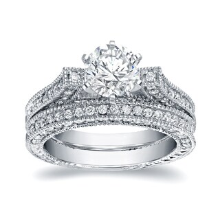 Auriya 14k White Gold 2ct TDW Vintage Certified Round Cut Diamond Bridal Ring Set