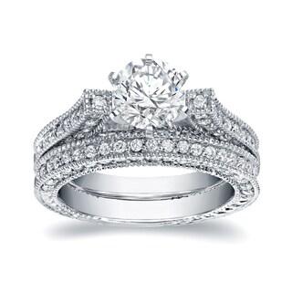 Auriya Vintage 2ct TDW Certified Round Diamond Engagement Ring Set 14k White Gold