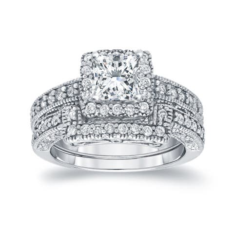 Auriya 1 3/4ctw Vintage Princess-cut Diamond Halo Engagement Ring Set 14k Gold